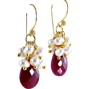 SALE Valentine's Day Sale!  Ruby Gemstone Briolette Cultured Pearl Cluster Gemstone Earrings-