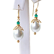 SALE 30% OFF Sale! Emerald Green Onyx Tear Drop Sea Shell Pearls- 24k Gold Vermeil Holiday Ear