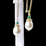 SALE 30% OFF Sale! Emerald Green Onyx Teardrop Sea Shell Pearls- 24k Gold Vermeil Holiday Earr