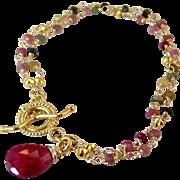 SOLD Ruby Tourmaline Gemstone Bracelet- 2 Strand- Bali Gold Vermeil-14k GF Artisan Handmade Wr