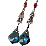 SALE Vintage Assemblage Earrings, Red Garnet Gemstone- Montana Blue Swarovski Baroque Crystal,