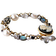 Vintage Assemblage Cameo Layered Bracelet-Baroque Cultured Pearls-Blue Flash Labradorite ...