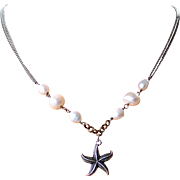 Beach Lover Themed StarFish Cultured Baroque Pearl, Rainbow Moonstone Gemstone Necklace, Bali