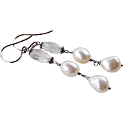 Beach Lover Themed Earrings- Cultured Baroque Pearl, Rock Crystal Gemstone Dangle Earrings, Ba