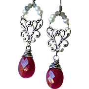 SALE Mother's Day! Opaque Ruby Gemstone Briolette- Blue Flash Labradorite- Cultured Pearl Gems