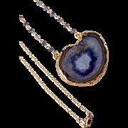 SALE Druzy Iolite Gemstone Pendant Necklace, Wire Wrapped, Layering Drusy Necklace- 18k GF- ..