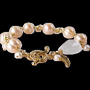 SALE Cultured Pearl Gemstone Bracelet- Bali 24k Gold Vermeil- Rock Crystal Gemstone Wire Wrapp