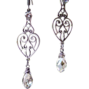 SALE Swarovski 'Silver Shade' Crystal- Sterling Wire Wrapped- Victorian Styled Filigree Heart