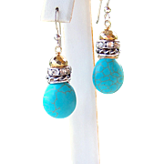 SALE Chic Boho/ Cowgirl Stacked Sterling Silver Turquoise Briolette Earrings- Handmade Jewelry