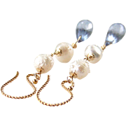 Rosebud Druzy (Drusy) Cultured Baroque Pearl, Blue Quartz Gemstone Dangle Earrings, 14K Gold .