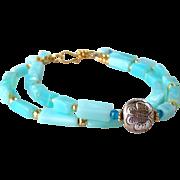 SALE 2 Strand Peruvian Opal- Swiss Topaz- Gold Pyrite Gemstone Bracelet- Butterfly Motif- Bali