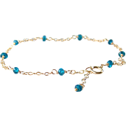 SALE London Blue Topaz Gemstone Bracelet- 14k Gold Filled Double Chain- Delicate Layering ...