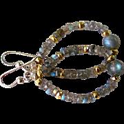 SALE Blue Flash Labradorite & Gold Pyrite Gemstone Hoop Earrings- Sterling Silver Wire Wrap- .