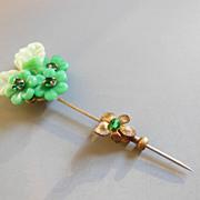 SALE Striking Vintage Miriam Haskell Green Glass Floral Stick Pin
