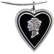 WWII 1940s Dime Heart Sweetheart Pendant/Charm Mercury with Vintage Sterling Wire Choker