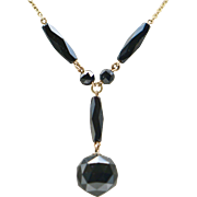 Antique Victorian Mourning Fob Black Czech Glass Necklace
