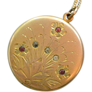 Antique Edwardian Gold Fill Round Locket with Pink and Clear Paste Stones
