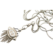 Victorian Sterling Long Guard Chain Necklace with Tassel