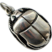 SOLD Art Deco Egyptian Revival Sterling Scarab Pendant Fob