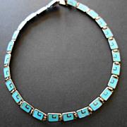 SALE Margot de Taxco Choker: Sterling Silver & Blue Enamel