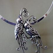 SALE Mexican Sterling Silver Repousse Quetzal Pendant Necklace
