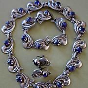 SALE Taxco Mexican Sterling Silver & Amethyst Necklace, Bracelet & Earrings