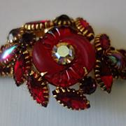 SALE Rare EDLEE Red Rhinestone Fluted Art Glass Bracelet