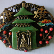 SALE NEIGER Chinese Pagoda Oriental Filigree Brooch
