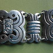 COLOMBIAN Incan Mythological Figures Panel Link Bracelet