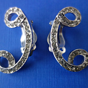 SALE SCHIAPARELLI (Signed) Backward C Shaped Ice Glass Rhinestone Climber Earrings