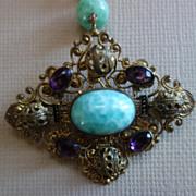 SALE NEIGER Peking Glass Amethyst Crystal Necklace