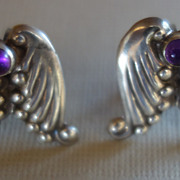 """AEM"" Mexican Sterling Silver Repousse Amethyst Earrings"