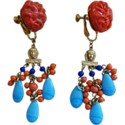 MIRIAM HASKELL Egyptian Revival Earrings (Coral,Turquoise, Lapis Glass Beads)