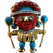 HATTIE CARNEGIE (Signed)Jeweled Aztec Warrior Figural Brooch