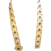 MAX NEIGER Style Link Belt Egyptian Palm Leaf & Amethyst