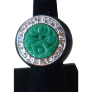 KJL KENNETH LANE Huge Couture Carved Jade Resin Enamel Cocktail Ring, Sz. 7