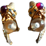 HAR Rare Genie Clip-On Earrings (Enamel /Cabochon /Rhinestones/ Crystal Ball)