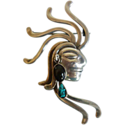 MEXICAN Sterling Silver Stylized Mayan Profile Brooch/Pendant