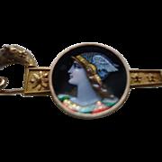SALE Antique Victorian 18K Solid Gold Etruscan Revival Portrait Limoges Enamel Brooch