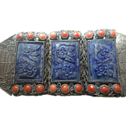 Chinese Silver-Plated Filigree Bracelet With 18 Red Coral and 3 Blue Stones Carved with ...