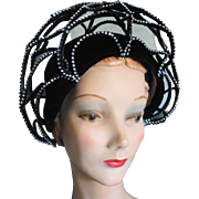 JACK McCONNELL Red Feather Black Velvet Rhinestone Spider Web Hat
