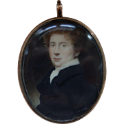 19TH Century Miniature Watercolor Portrait of a Young Man Pendant