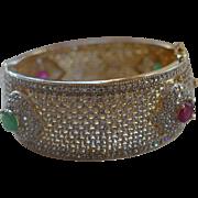 SALE Royal Mogul Ruby Gripoix Crystal Pave 22K Plated Cuff Bracelet