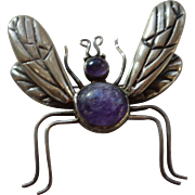 LOS CASTILLO Mexico Sterling Silver Amethyst Stones Big Bug Brooch/Pin