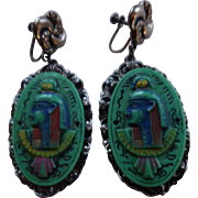 MAX NEIGER Czech Glass Egyptian Revival Pharaoh Earrings