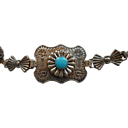 "NAVAJO Sterling Silver Turquoise-Colored Cabochons Stamped Concho Belt (31"")"