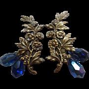 JOSEFF OF HOLLYWOOD Flower Earrings w/ Cobalt Blue Crystal Dangles (circa 1950s)