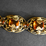 Art Nouveau Brass & Amber Glass Flower Bracelet