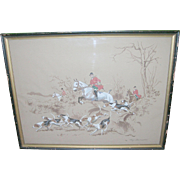 SALE Vintage French Watercolor Foxhunting Scene Signed