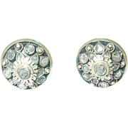 SALE Victorian Sterling Faux Diamond Collar Buttons Pr